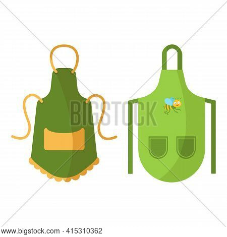 Colorful Kitchen Aprons With Patterns Isolated On White Background. Protective Garment. Cooking Dres