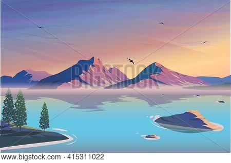 Mountain Lake Landscape Vector Illustration. Cartoon Flat Panorama Of Spring Summer Beautiful Nature