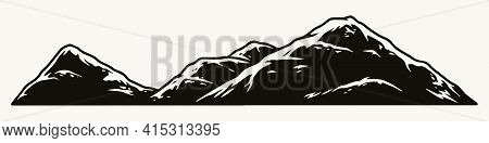 Mountains Scenery Vintage Monochrome Concept On White Background Isolated Vector Illustration