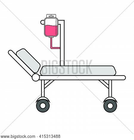 Hospital Bed With Medical Equipments, Intensive Care, Resuscitation
