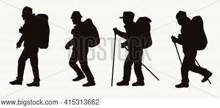 Silhouettes Of Male Hikers With Backpacks In Vintage Style Isolated Vector Illustration