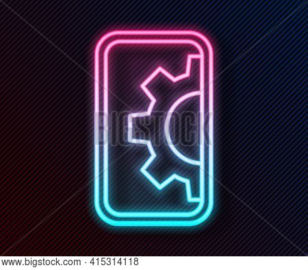 Glowing Neon Line Software, Web Development, Programming Concept Icon Isolated On Black Background.