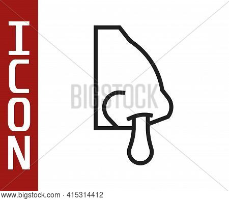 Black Line Runny Nose Icon Isolated On White Background. Rhinitis Symptoms, Treatment. Nose And Snee