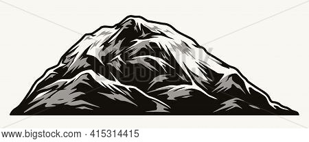 Vintage Concept Of Mountain Peak In Monochrome Style Isolated Vector Illustration