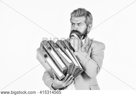 Time To Think. Portrait Of Businessman Hold Office Folder. Professional Businessman Waiting For Part