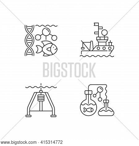 Marine Exploration Linear Icons Set. Marine Chemistry Tools. Hydraulically Damped Gravity Corer. Cus
