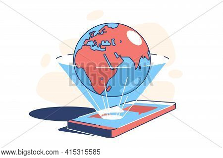 World In Phone Vector Illustration. Globe From