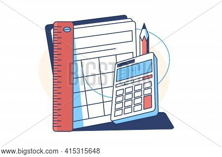 Calculator And Pencil Vector Illustration. Ruler And