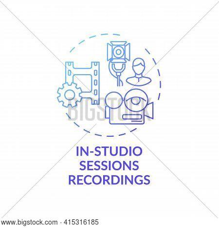 In-studio Sessions Recordings Concept Icon. Ve Content Idea Thin Line Illustration. Full Virtual Ses