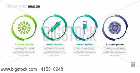 Set Firework, Firework Rocket, Glass Of Champagne And Pizza. Business Infographic Template. Vector
