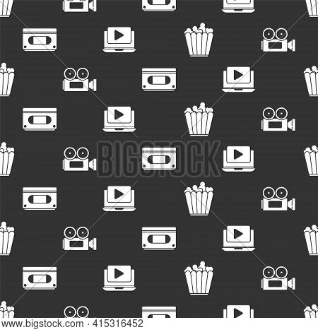 Set Popcorn In Box, Cinema Camera, Vhs Video Cassette Tape And Online Play Video On Seamless Pattern