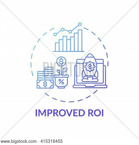 Improved Roi Concept Icon. Hybrid Event Idea Thin Line Illustration. Engaging With Sponsors On Virtu
