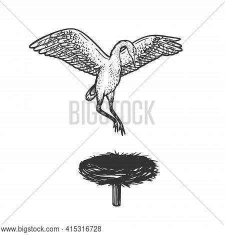 Crane Stork Bird Hovers Over The Nest Sketch Engraving Vector Illustration. T-shirt Apparel Print De