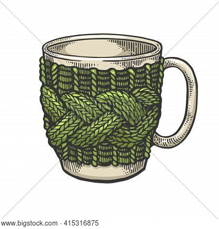 Cup With Handmade Knitted Fancywork Sketch Engraving Vector Illustration. T-shirt Apparel Print Desi