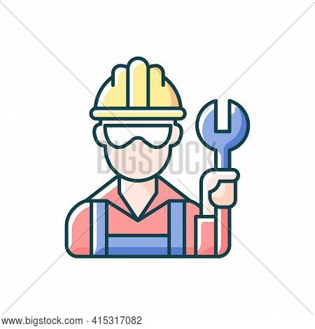 Blue Collar Worker Rgb Color Icon. Repairman With Wrench. Mechanic With Tool For Construction Work.