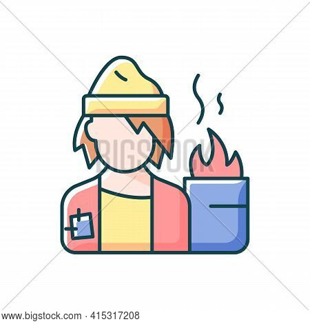 Lower Class Rgb Color Icon. Homeless Man. Poverty, Beggar Living On Street. Person With No Home. Lif