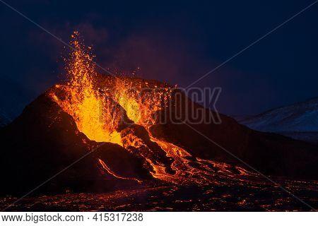 The Eruption Site Of Geldingadalir In Fagradalsfjall Mountain On Reykjanes In Iceland