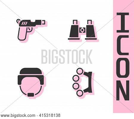 Set Brass Knuckles, Pistol Or Gun, Military Helmet And Binoculars Icon. Vector