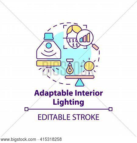 Adaptable Interior Lighting Concept Icon. Smart Office Idea Thin Line Illustration. Recognizing Pref