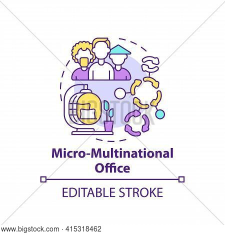 Micro-multinational Office Concept Icon. Workspace Trend Idea Thin Line Illustration. Diverse Office