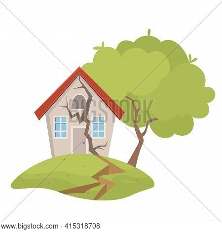 Village House Destruction Earthquake Vector Illustration. Damage Countryside Dwelling Insurance Risk