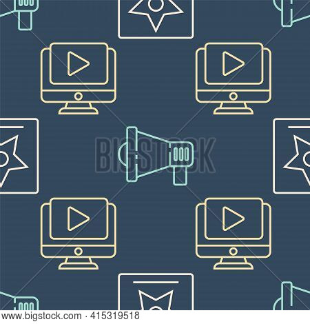Set Line Hollywood Walk Of Fame Star, Online Play Video And Megaphone On Seamless Pattern. Vector