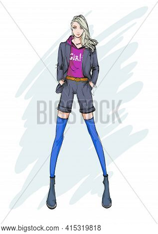 Young Beautiful Woman In Summer Clothes. Sale Concept. Hand-drawn Fashion Illustration