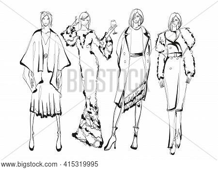 Beautiful Young Women In Modern Style.. Hand Drawn Stylish Woman Portrait. Fashion Lady. Summer Outf