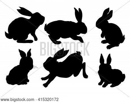 Rabbit Icon. Vector Rabbit Sign Symbol. Rabbit Animal Silhouette