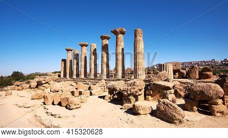 Famous Eight Columns Of The Temple Of Heracles Or Hercules, Known As Tempio Di Eracle In Italian. Va