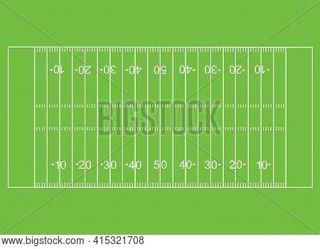 American Football Field. Soccer Field In Top View. Flat Style.