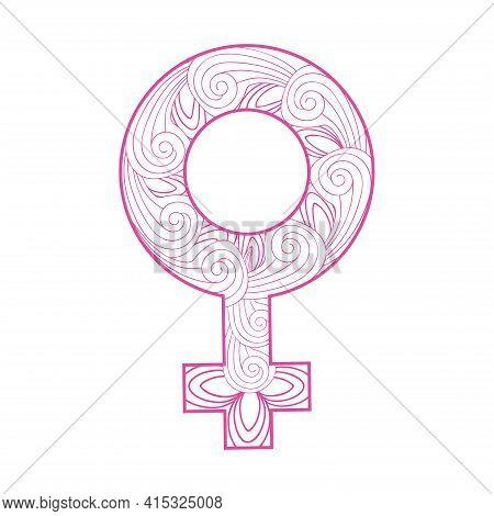 Beautiful Floral Feminine Symbol Of Venus As Female Gender Sign. Venus Sign, Zentangle, Flower