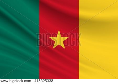 Flag Of Cameroon Fabric Texture Of The Flag Of Cameroon.