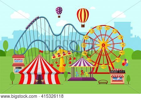 Amusement Park With Circus Carousels Roller Coaster And Attractions On City Background. Fun Fair And
