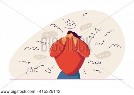 Anxious Woman Thinking About Problems. Mental Breakdown From Stress, Anxiety, Trauma Flat Vector Ill