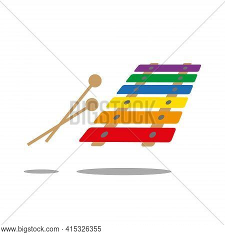 Colourful Six Key Xylophone With Two Wooden Mallets, Isolated On White Background