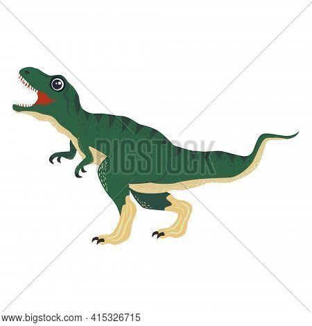 Tyrannosaurus Green, Prehistoric Dinosaurs Collection. Ancient Animals. Hand Drawn.