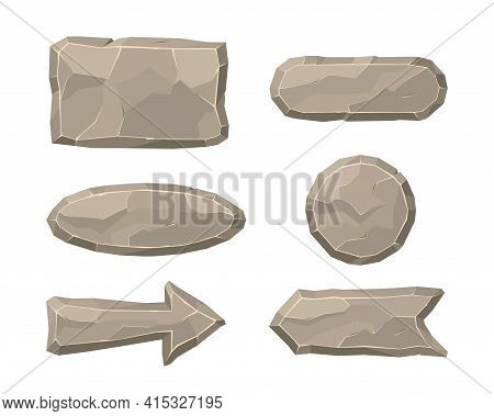 Stone Elements Of Interface Flat Vector Illustration. Cartoon Panel Of Rubble Rocks In Form Of Frame