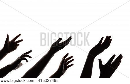 Silhouette Of Begging Hands. Group Of Hunger Strike People. Impoverished Person Concept. Isolated On