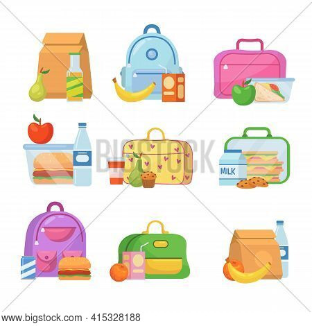 School Lunch Boxes For Children Vector Illustrations Set. Collection Of Lunchboxes With Healthy Food