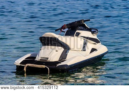 Empty Jet Ski In A Sea. Summer Vacation Concept