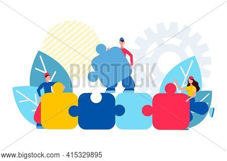 Teamwork Concept Vector Illustration Business Team Holding And Make Puzzle Elements. People Connecti