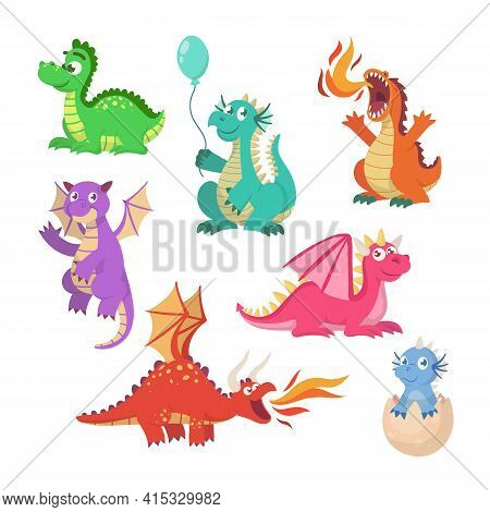 Cartoon Fairytale Dragons Vector Illustrations Set. Collection Of Cute Flying Dragons, Dinosaurs, Fi