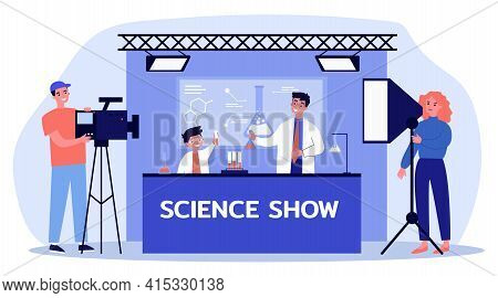 Man And Boy Shooting Science Show For Children. Cameraman, Flask, Chemistry Flat Vector Illustration