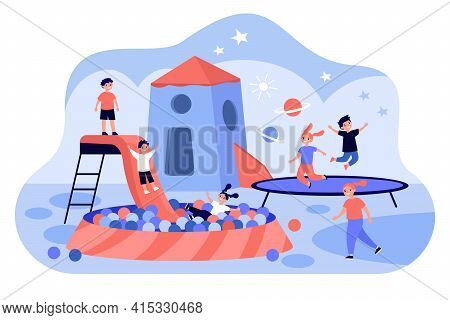 Game Center For Children. Active Kids Playing At Day Care Center, Vibrant Playroom Flat Vector Illus