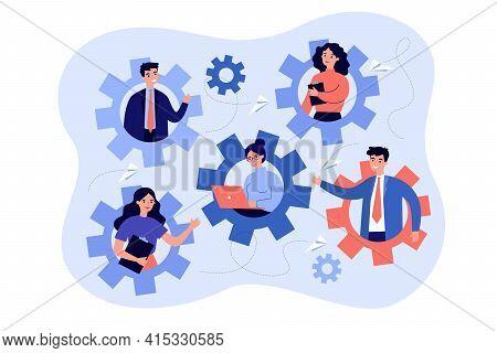 Dedicated Team Members Working As One Mechanism. Team Developing Software, Collective Effort Flat Ve