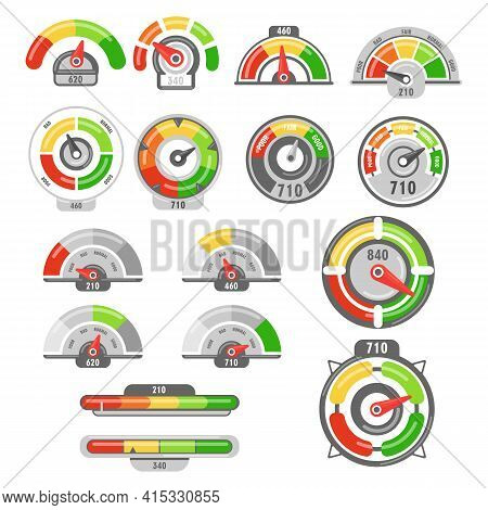 Speedometers With Poor And Good Rating Indicators Set. Levels Of Client Satisfaction With Credit Sco