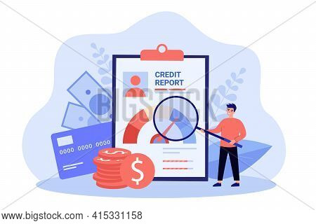 Male Businessman With Money And Credit Report. Bank Finance Document And Money Concept.flat Vector C