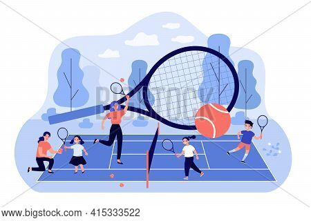 Coaches And Children Playing At Tennis Court. Adults Teaching Kids Play Tennis With Rackets And Ball