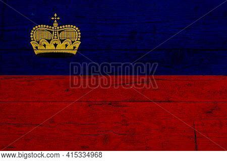 Flag Of Liechtenstein. Wooden Texture Of The Flag Of Liechtenstein.